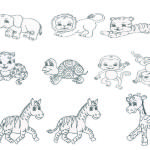 Series of chibi style animals- pen line art