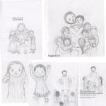 "Pencil sketches of characters for a picture book for assignment from ""Karen Whiting,"""