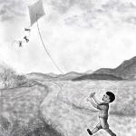 """Kite Dreams"" Illustration for, ""Time of Singing"", magazine Volume 47, page 19, Summer 2020."